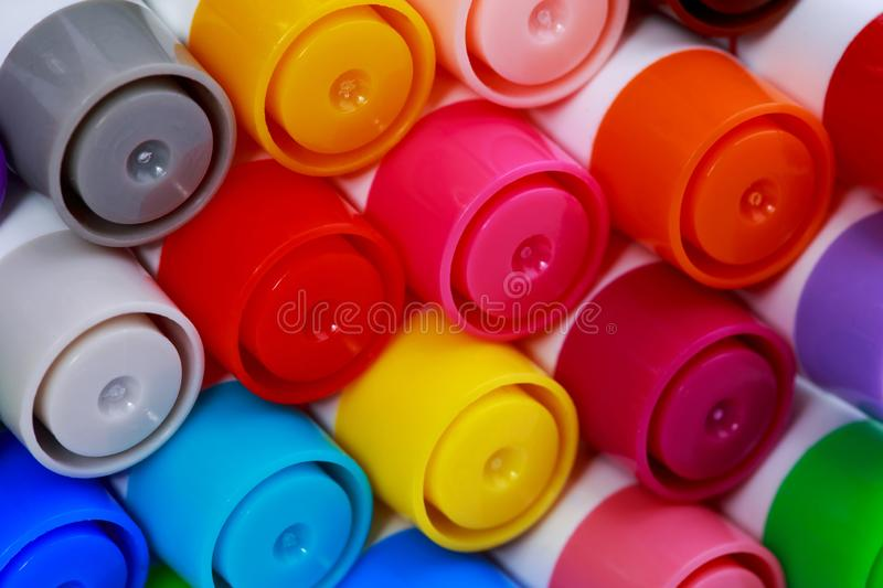The colored markers stock images