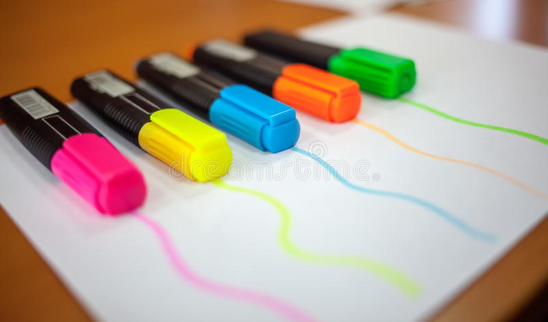 Colored markers on paper. stock photo. Image of graphic - 67505858