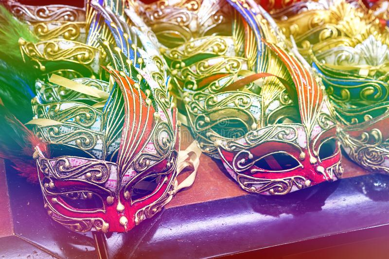Colored mask at carnival in Venice, Italy. Venice carnival masks stock photography