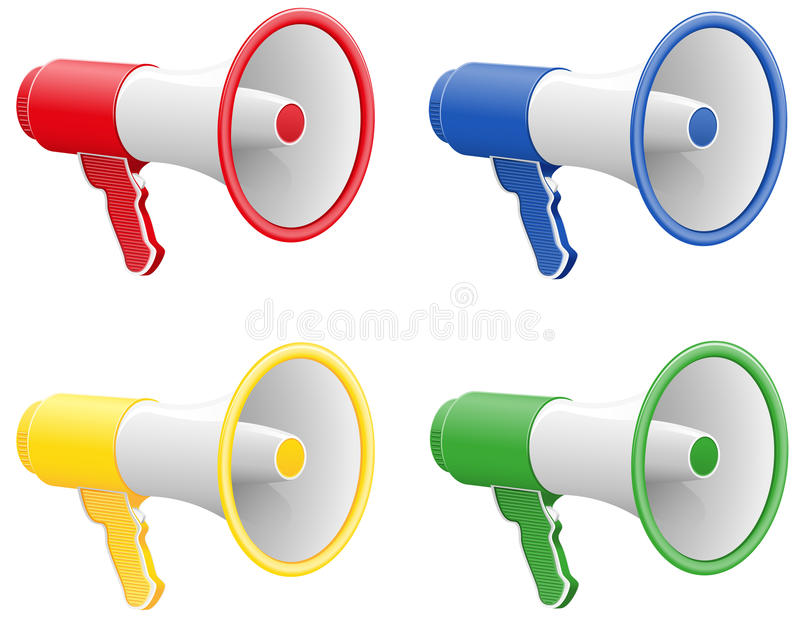 Colored megaphones vector illustration. Isolated on white background royalty free illustration