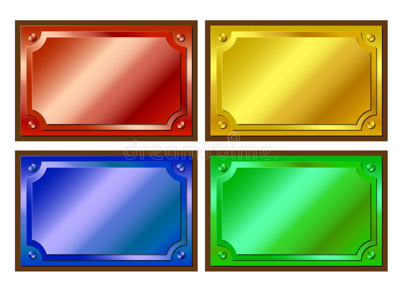 Download Colored metallic plaques stock vector. Image of brushed - 22511346