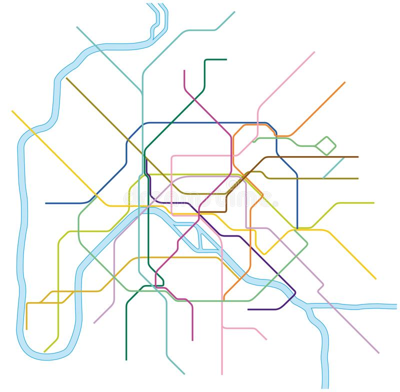 Colored Metro Vector Map Of Paris France Stock Illustration - Modern map of paris