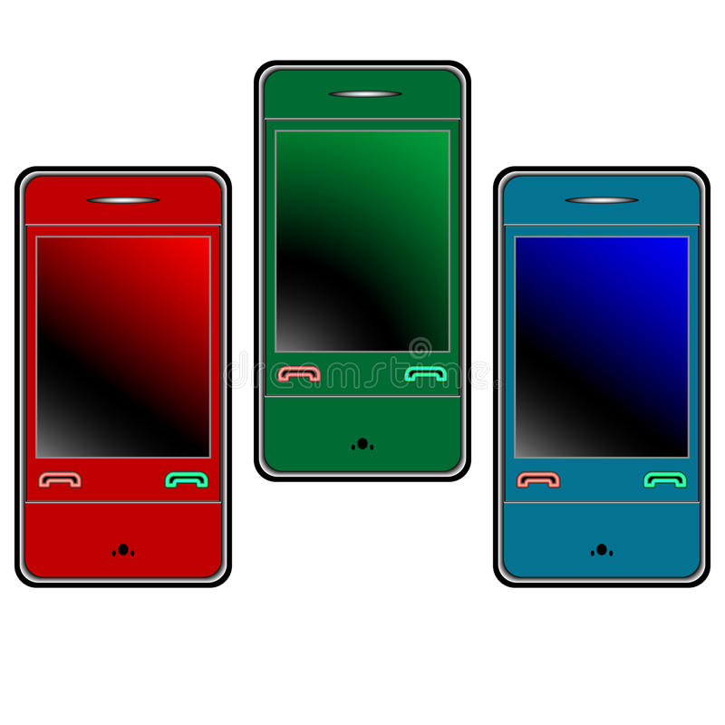 Download Colored Mobile Phones Against White Stock Vector - Illustration: 14477378