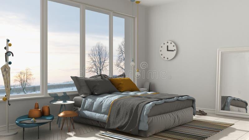 Colored modern white bedroom with big panoramic window, sunset,. Sunrise, architecture minimalist interior design vector illustration