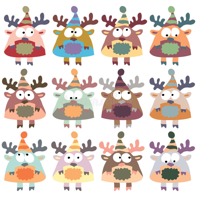 Colored moose in retro style, set,. Pattern for wrapping paper, packaging, boxes, bags, gifts. Infinite kitchen background vector illustration