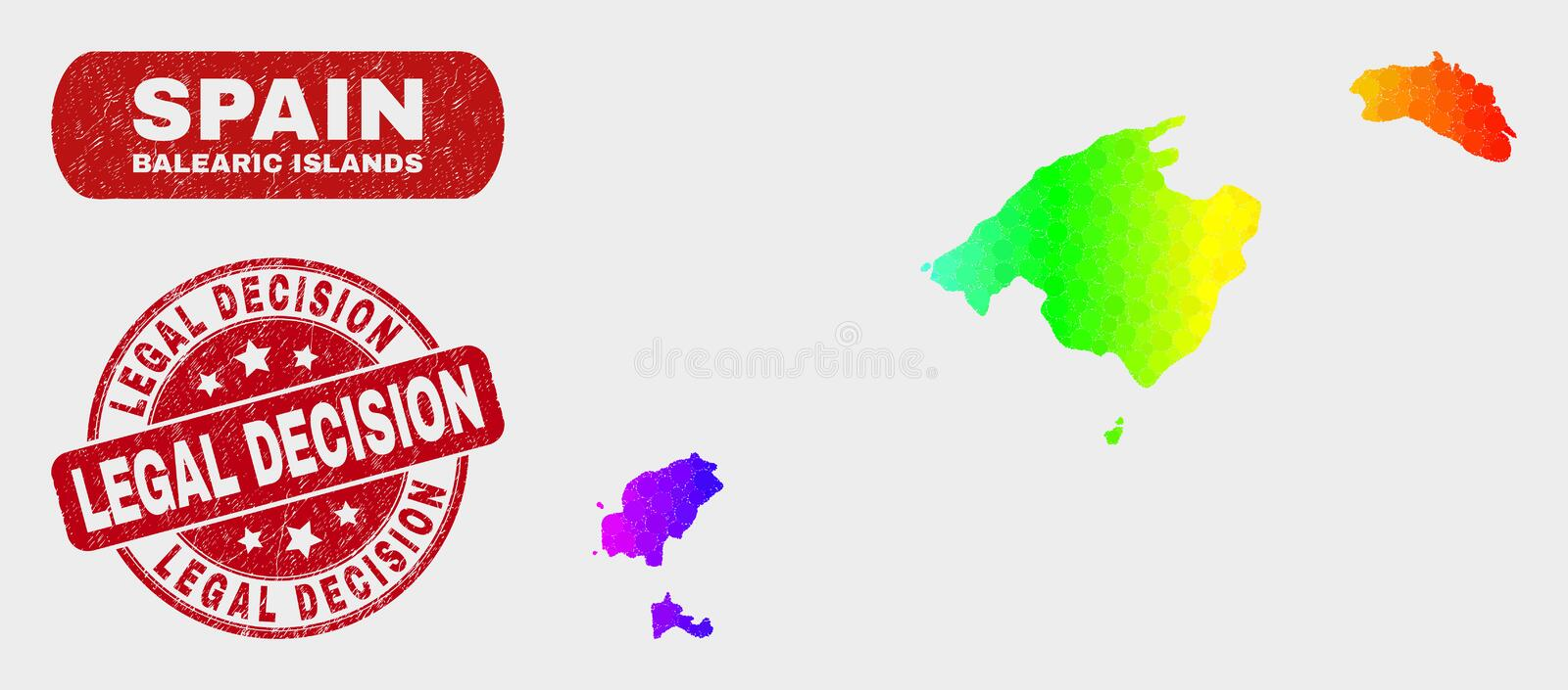 Colored Mosaic Balearic Islands Map and Distress Legal Decision Stamp Seal. Spectral dot Balearic Islands map and seal stamps. Red round Legal Decision distress vector illustration