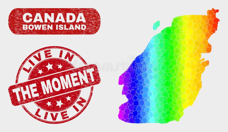 Colored Mosaic Bowen Island Map and Distress Live in the Moment Watermark. Spectrum dot Bowen Island map and seals. Red round Live in the Moment distress royalty free illustration