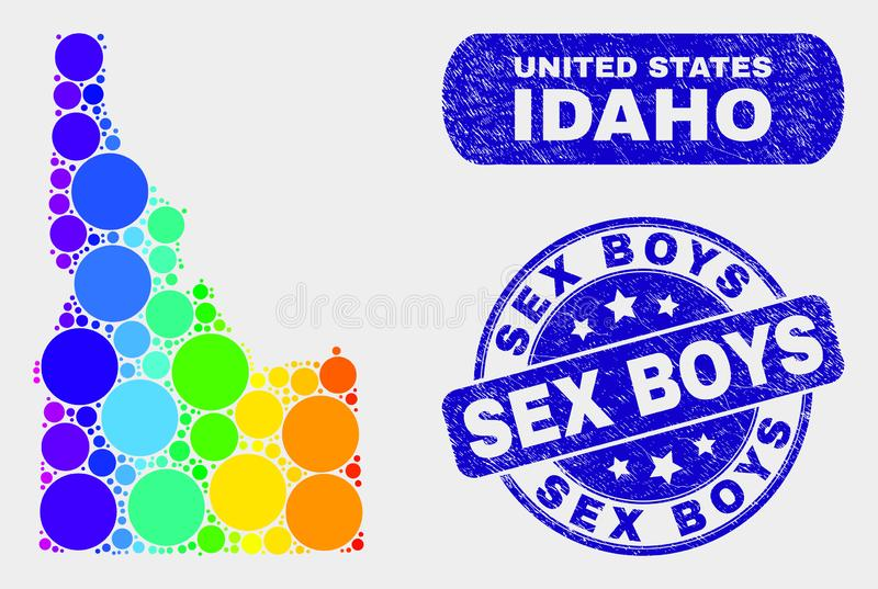 Colored Mosaic Idaho State Map and Grunge Sex Boys Stamp. Spectrum dot Idaho State map and seal stamps. Blue rounded Sex Boys grunge seal stamp. Gradiented royalty free illustration