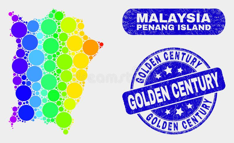 Colored Mosaic Penang Island Map and Distress Golden Century Seal. Spectral spotted Penang Island map and rubber prints. Blue round Golden Century scratched vector illustration
