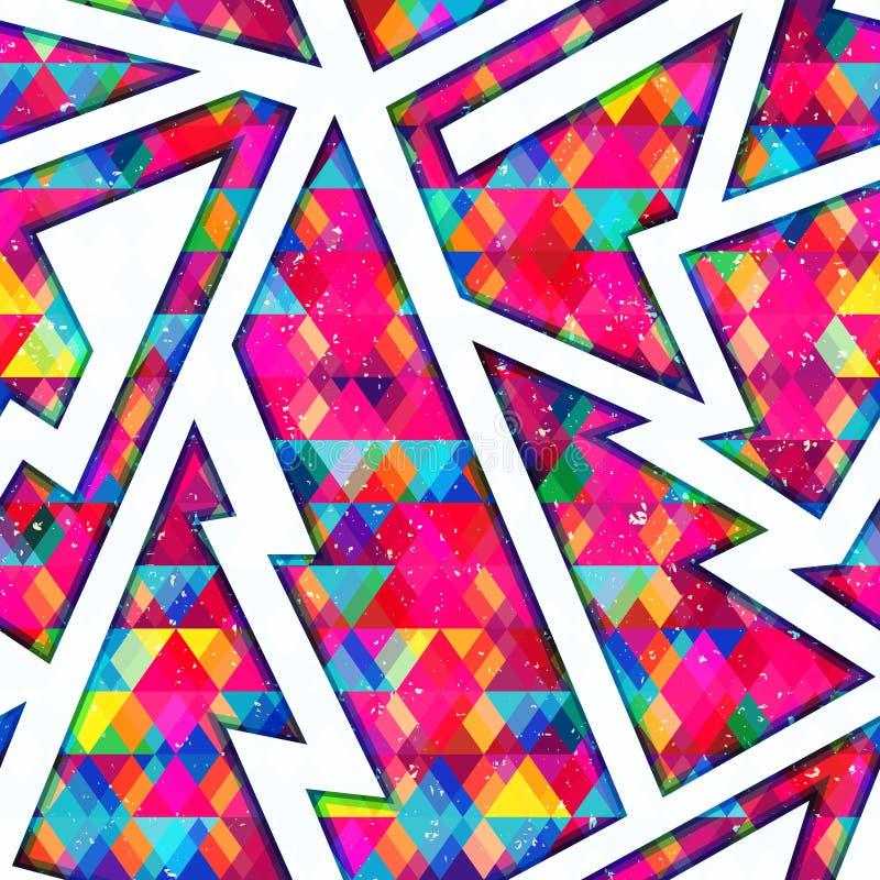 Colored mosaic seamless pattern stock illustration