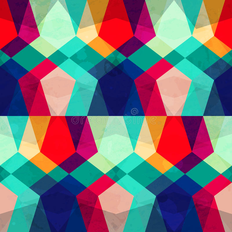 Colored mosaic seamless pattern with grunge effect vector illustration