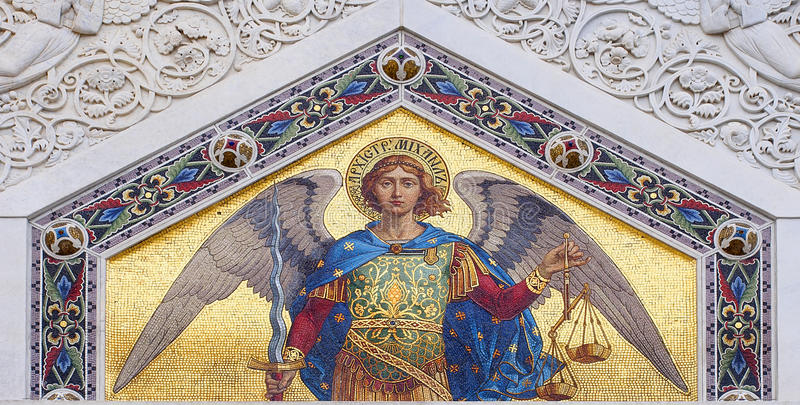 Colored mosaic of St. Michael. One of the beautiful colored mosaics on the external wall of the Serbian-Orthodox Church in the center of Trieste royalty free stock photos