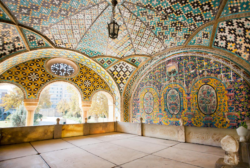 Colored mosaic in the traditional Persian style of the terrace stock photos