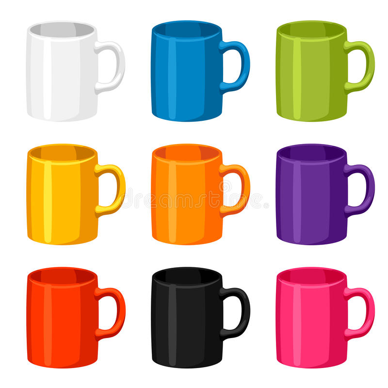 Colored mugs templates. Set of promotional gifts and souvenirs stock illustration