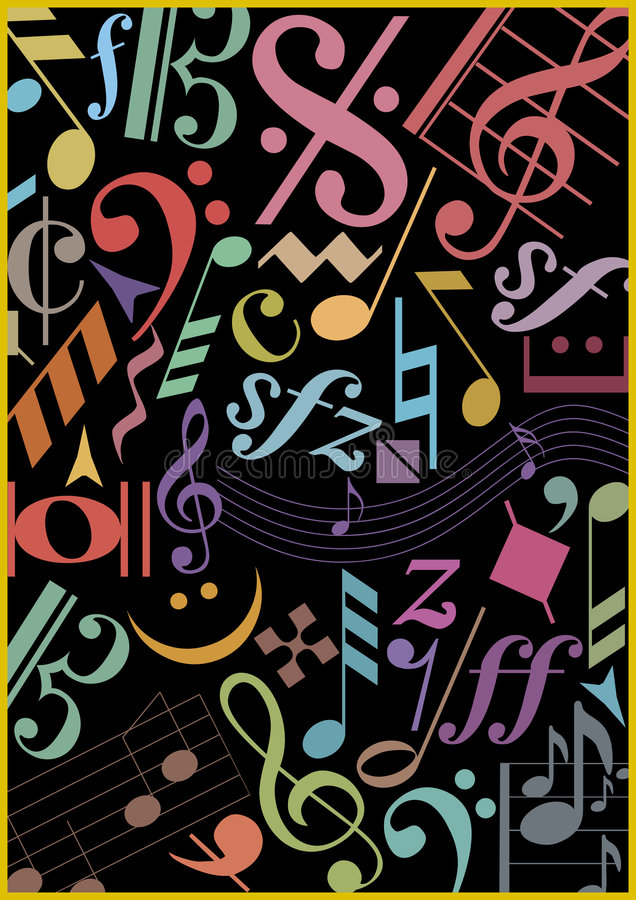 Download Colored Music Signs On Black Stock Vector - Image: 5452219
