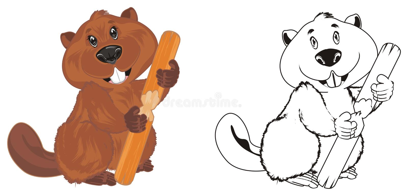 Two different beavers stock illustration