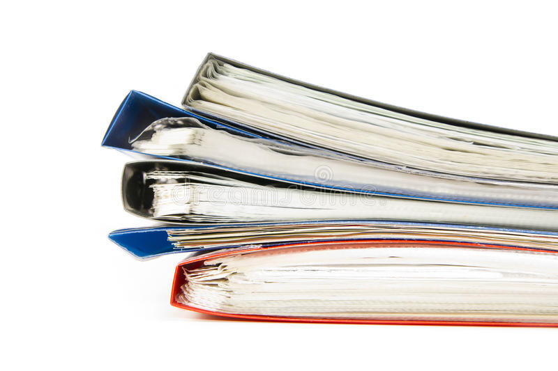 Colored office files stock photos