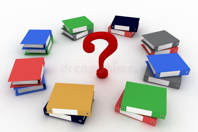 Download Colored Office Ring Binders  With Question-mark Stock Illustration - Image: 38631595