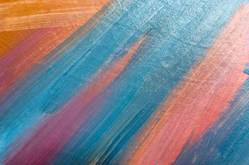 Colored oil strokes on canvas with a brush, abstract lines stock images