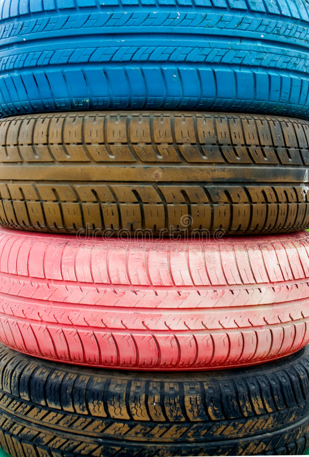 Colored old tires royalty free stock photography