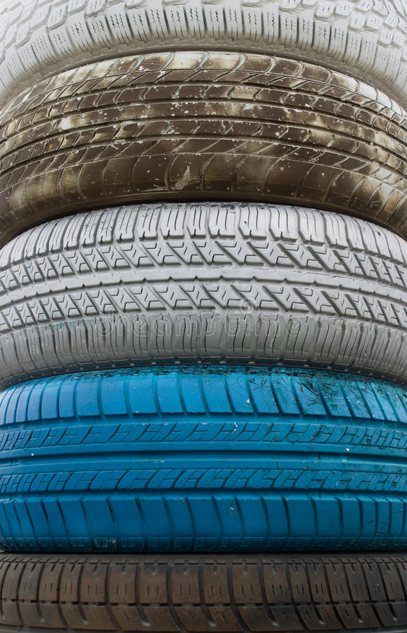 Colored old tires royalty free stock photos