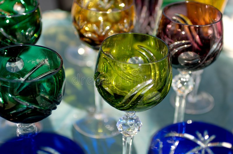 Colored old wine glasses royalty free stock photo