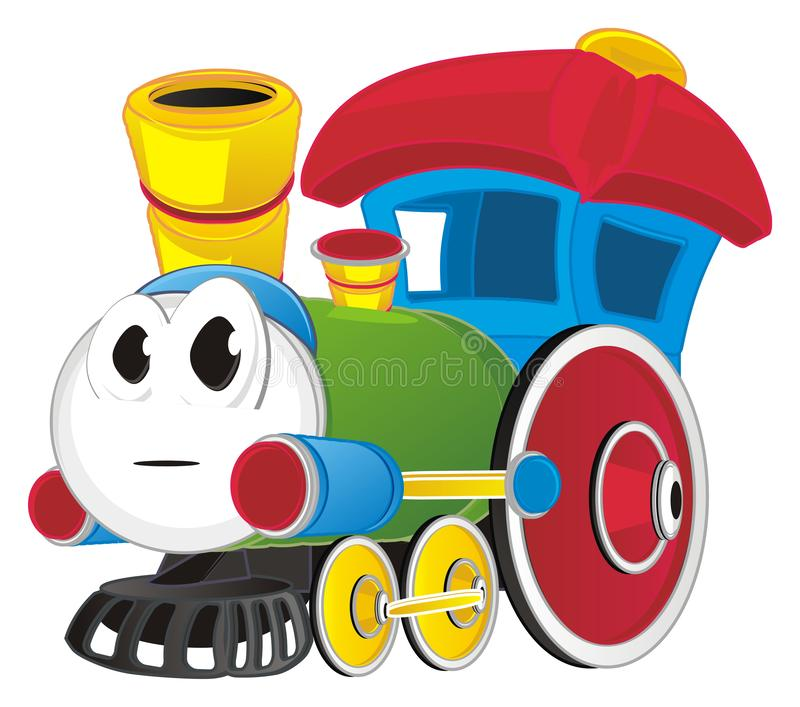 Toy train and his emotion vector illustration