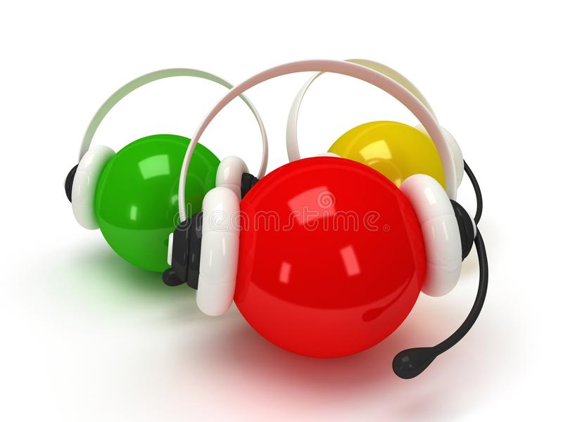 Colored orbs with headset over white royalty free illustration