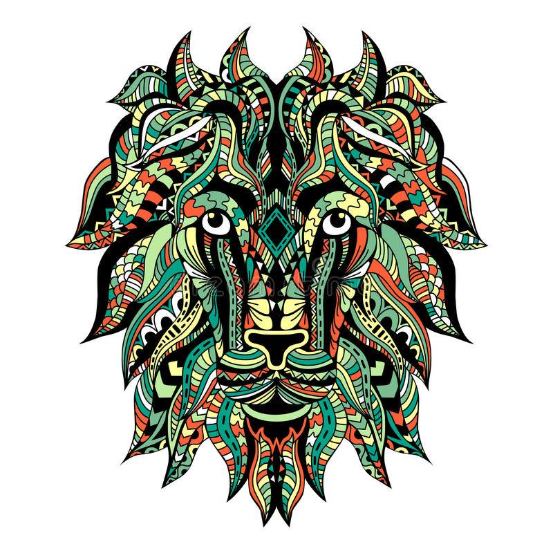 Colored Ornamental Tattoo Lion Head. Zentangle stylized Lion face. stock illustration