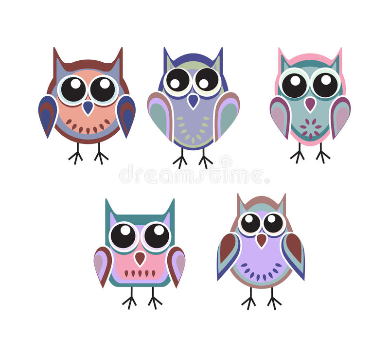 Colored owls stock photos