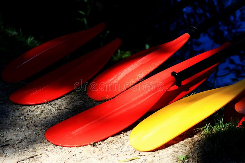 The colored paddles are next stock photography