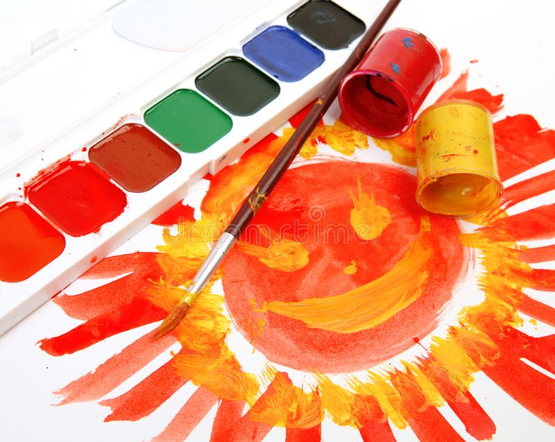 Colored paint and brush royalty free stock images