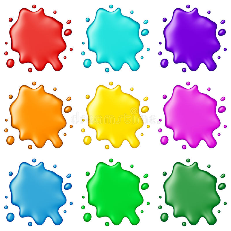 Colored paint splashes collection, isolated on white background stock image