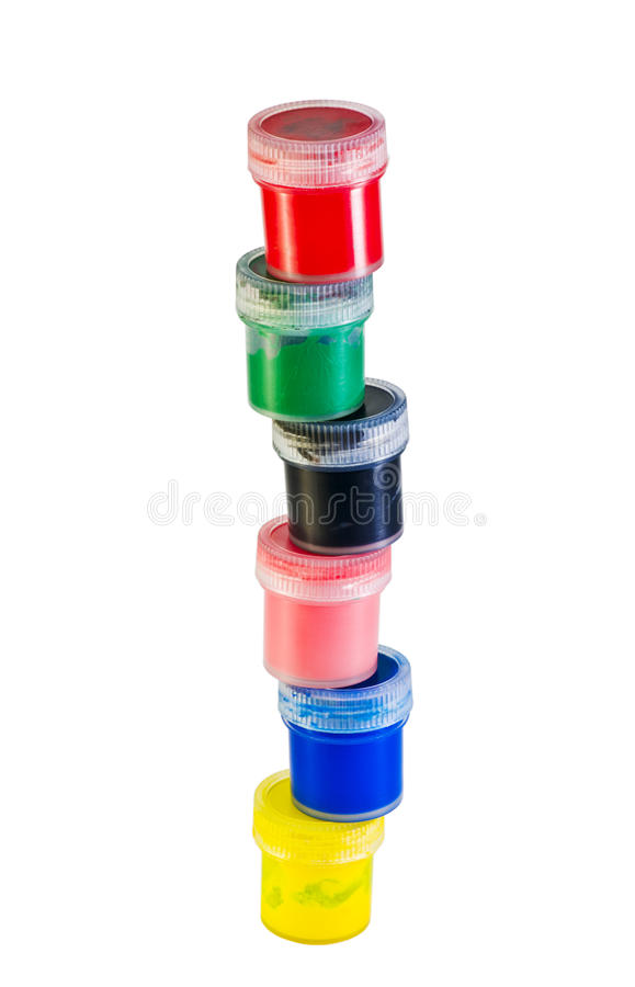 Colored paint stacked royalty free stock photography