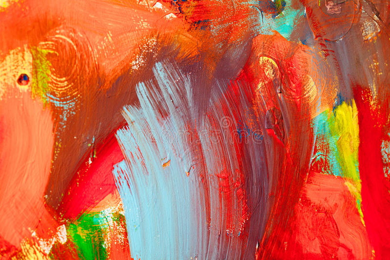 Colored paint strokes. Abstract art background. Detail of a work of art. Contemporary Art. Colorful texture. thick paint stock photo