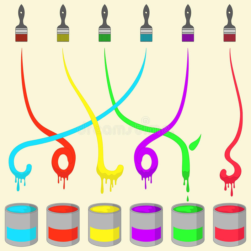 Colored Painting Brush stock illustration