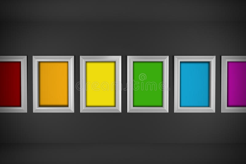 Colored paintings in minimal interior design stock image