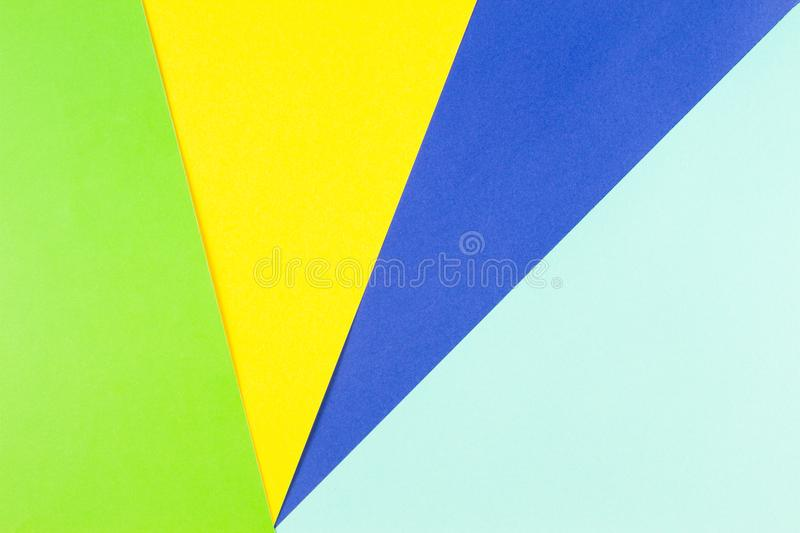 Colored Papers Geometry Flat Composition Background With Yellow ...