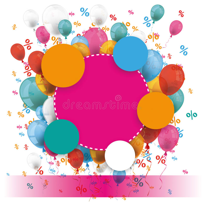 Colored Paper Circles Balloons Percents Banner royalty free illustration
