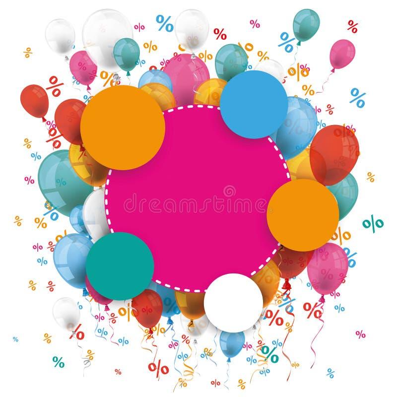 Colored Paper Circles Balloons Percents royalty free illustration