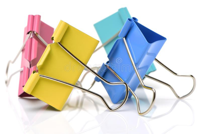 Colored paper clips royalty free stock image