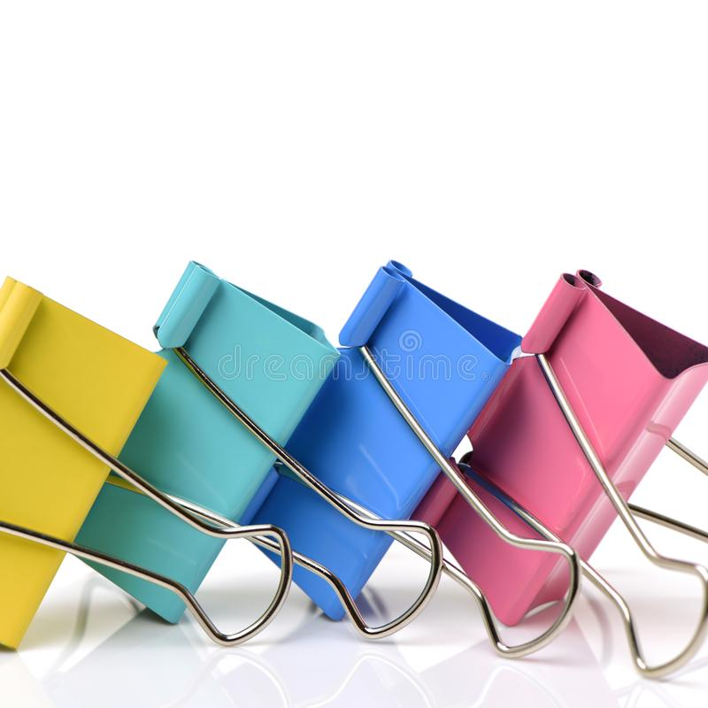 Colored paper clips for office ussage. royalty free stock photos