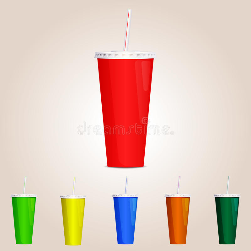 Colored Paper cup. Vector illustration. stock photo