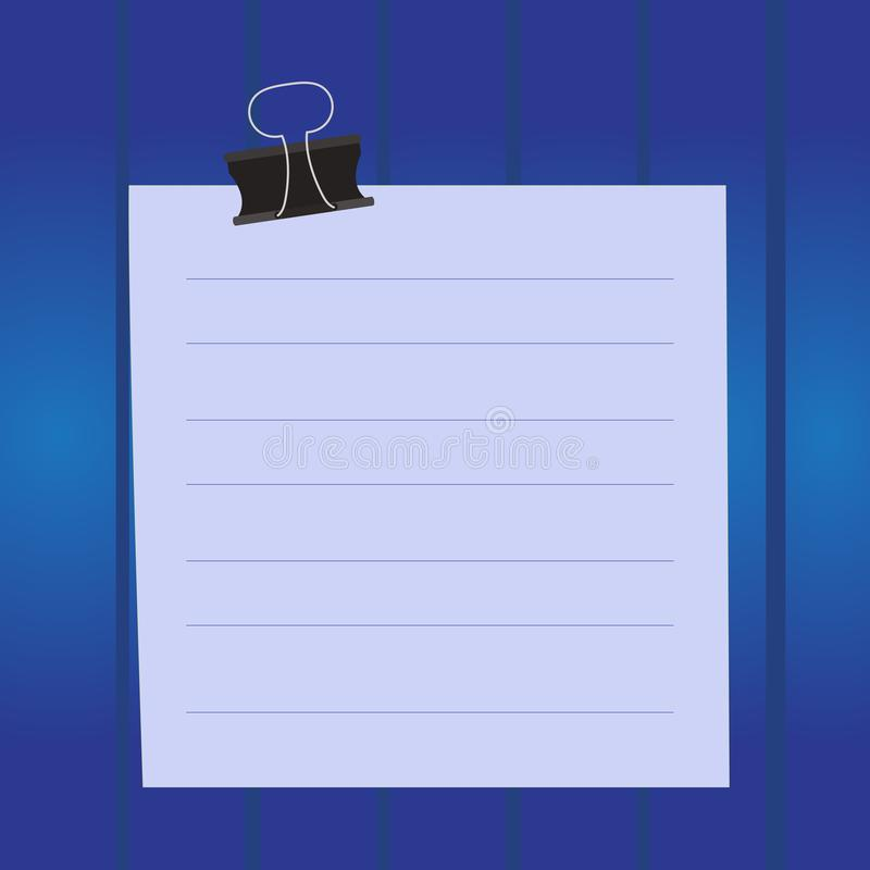 Colored paper note black binder clip on colorful background. Cardboard with lines on surface square shaped notebook with. Paper lines binder clip cardboard blank vector illustration