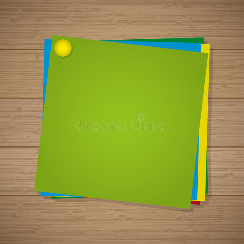 Colored paper for notes with a pin attached on the wooden background stock illustration