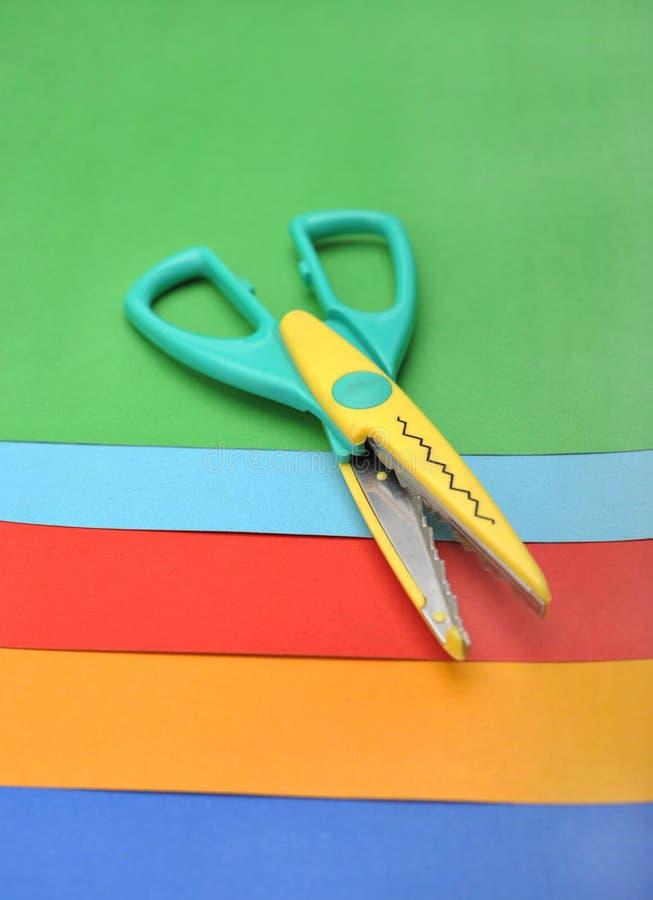 Colored paper and scissor stock photo