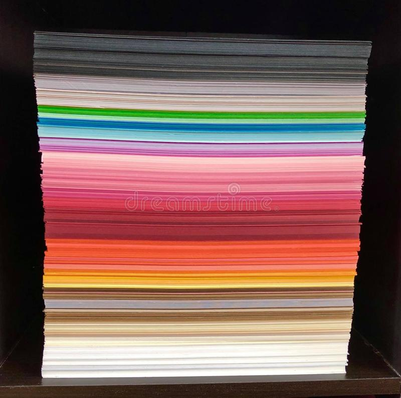 Colored paper stack stock photography
