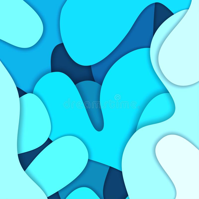 Colored paper waves, abstract, geometric background texture layers of depth in shades of blue. Paper cut style. Vector illustration royalty free illustration