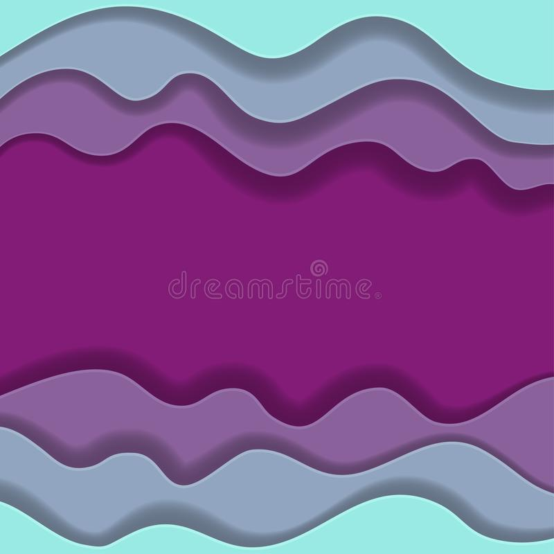 Colored paper waves, abstract, geometric background texture layers of depth in shades of blue and purple. Paper cut style. Clipping mask. Vector illustration stock illustration