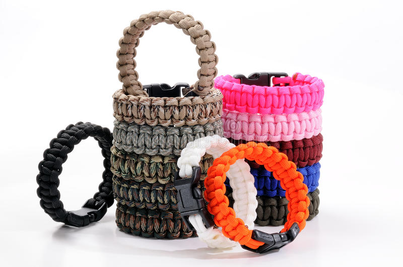Colored paracord bracelet royalty free stock photos